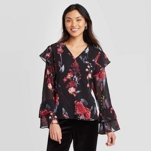 A New Day Floral Ruffle Long Sleeve V-Neck Blouse
